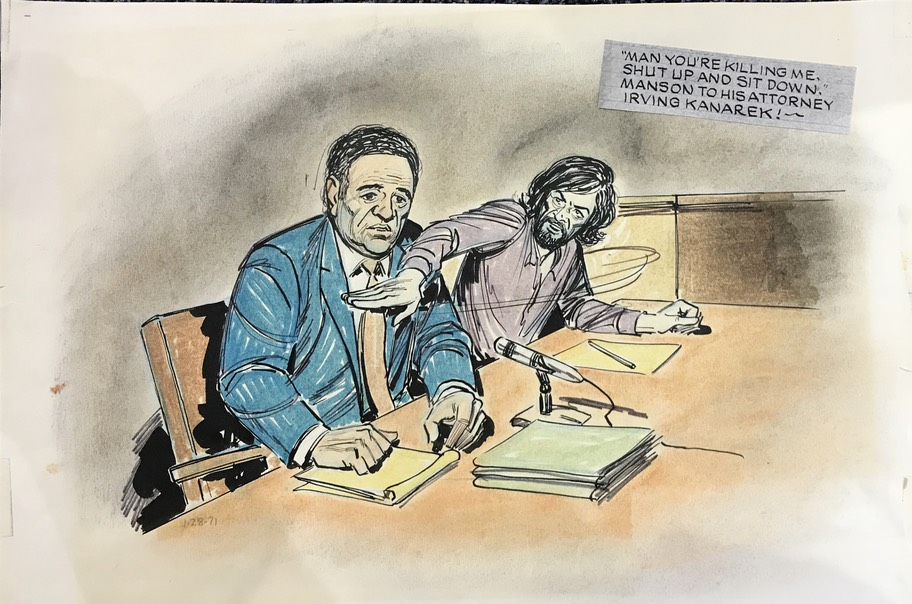 Courtroom Sketch Art of Bill Lignante  Charles Manson Trial