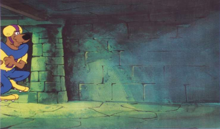 Hanna barbera cels backgrounds storyboards and model sheets 5 at the 13 ghosts of scooby doo 1970s production cel of scooby doo in a football uniform presented on a color laser background overall size 9 x 12 inches voltagebd Gallery