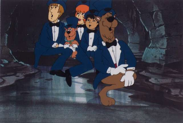 Hanna barbera cels backgrounds storyboards and model sheets 5 at the 13 ghosts of scooby doo 1970s production cel of scooby scrappy daphne shaggy and flim flam presented on a color laser background voltagebd Gallery